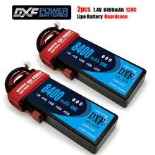 2 قطعة DXF بطارية ليثيوم بوليمر 2S 7.4V 8400mAh 7000mAh 6500mAh 5200mAh 50C 100C 60C 120C 240C ل 1/8 Rc ريفو مائل تدافع سيارة شاحنة