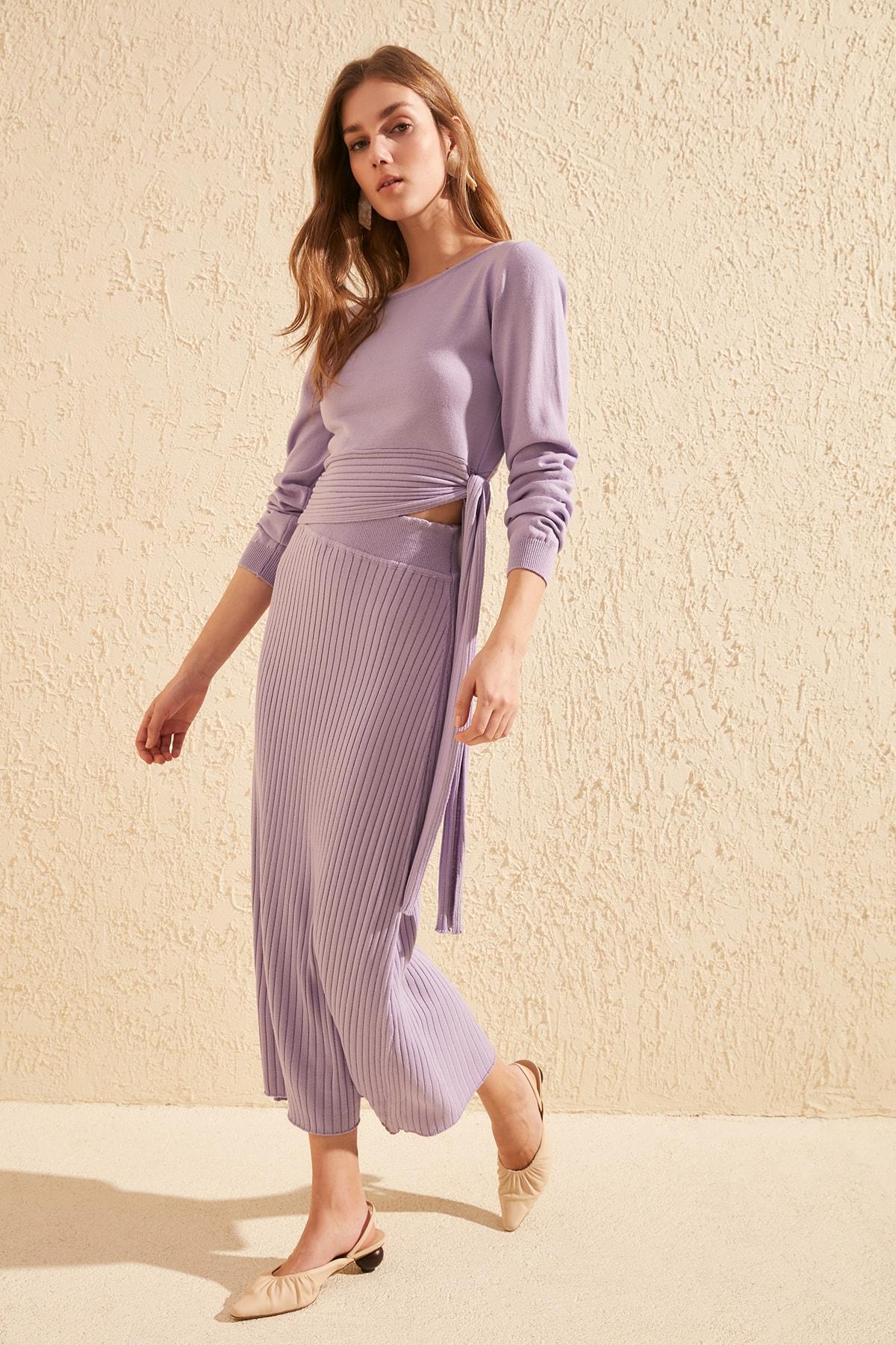 Trendyol Ribbed Knitwear Skirt TWOSS20ET0048