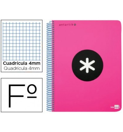 SPIRAL NOTEBOOK LEADERPAPER A4 ANTARTIK HARDCOVER 80H 100 GR TABLE 5MM COLOR FLUOR PINK
