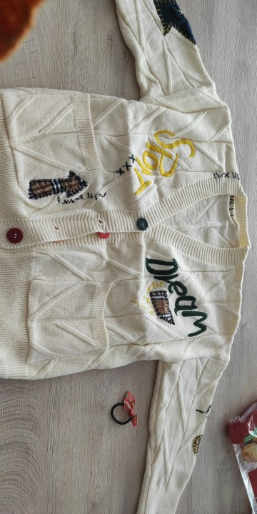 Harajuku Y2K  Cottagecore Loose Knitted Cardigan with Pockets and Embroidery photo review
