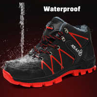 2019 Winter Work Safety Shoes Waterproof Men's Boots Outdoor Warm Waterproof Non-slip Ankle Snow Boot Thick Plush Rubber Nonslip