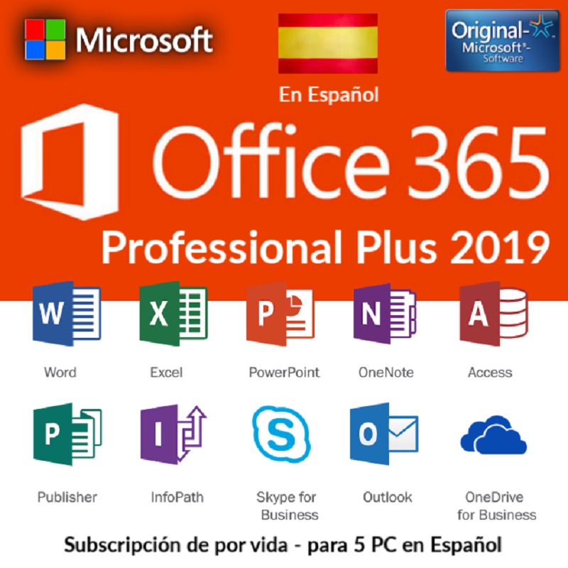 Professional Office Plus 2019 365 Spainish Word, Exel, Tems, Onedrive, 5 devices