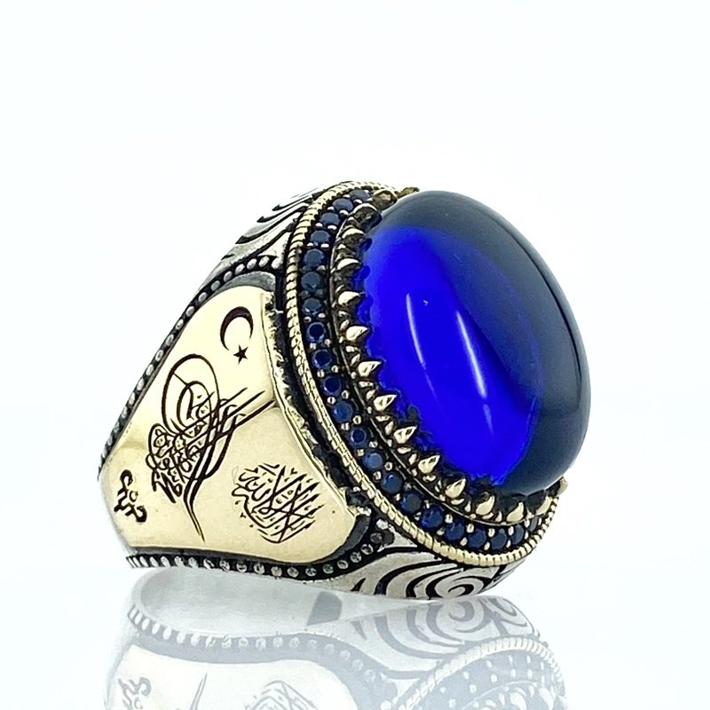 Opalize Cut Sapphire Stone Tuğra Moon Stars Silver Men 'S Ring