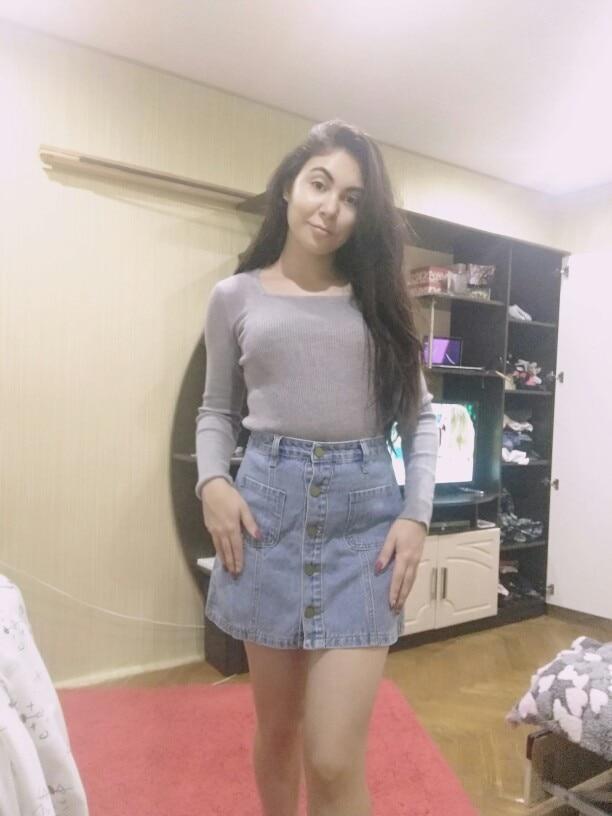 Skirt High Waist A Line Mini Skirts Women Summer New Arrivals Single Button Pockets Blue Jean Skirt Style Saia Jeans photo review