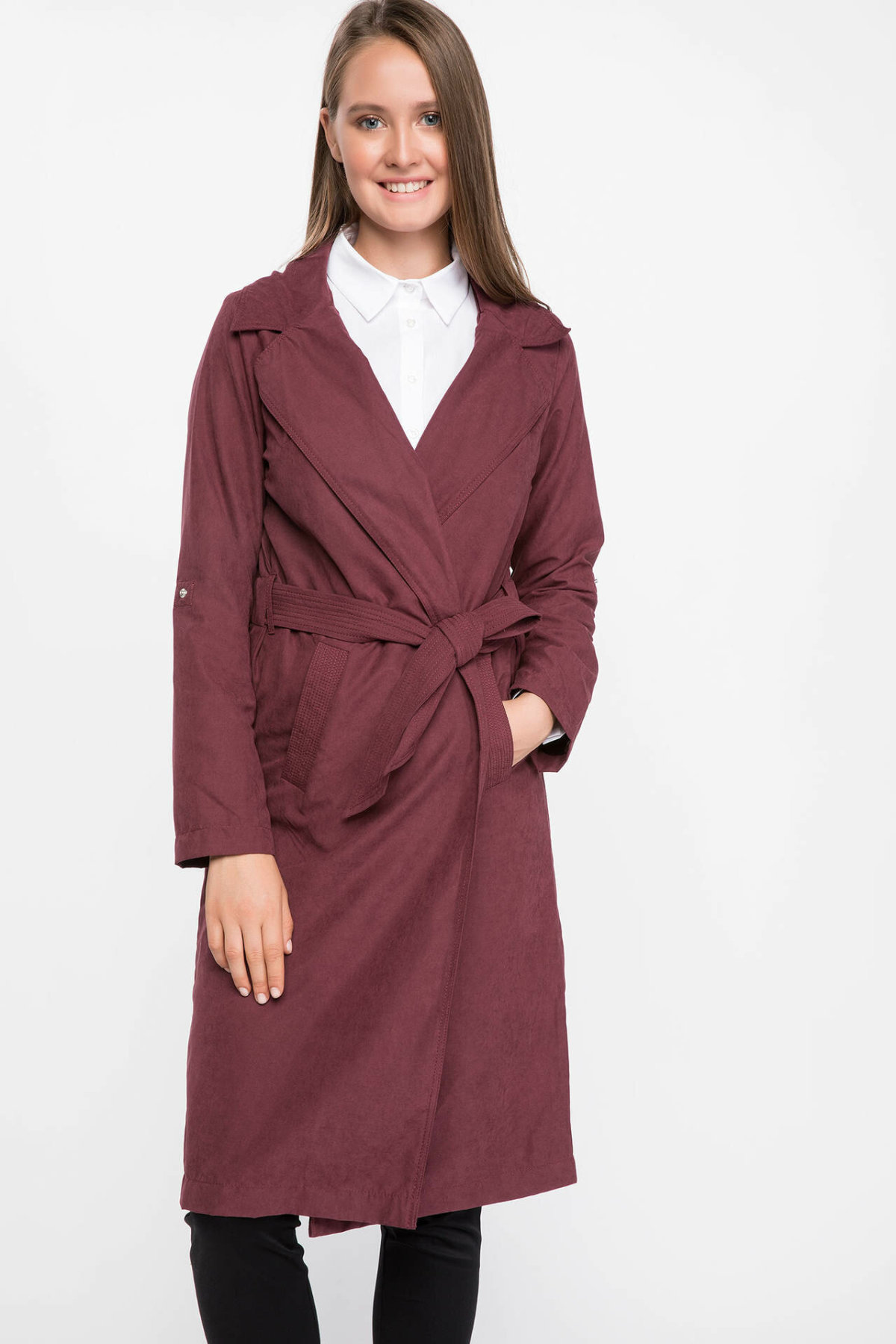 DeFacto New Woman Fashion Lapel Collar Long Coat Belt Long Sleeves Pocket Simple Long Jacket Autumn  - I6012AZ18AU
