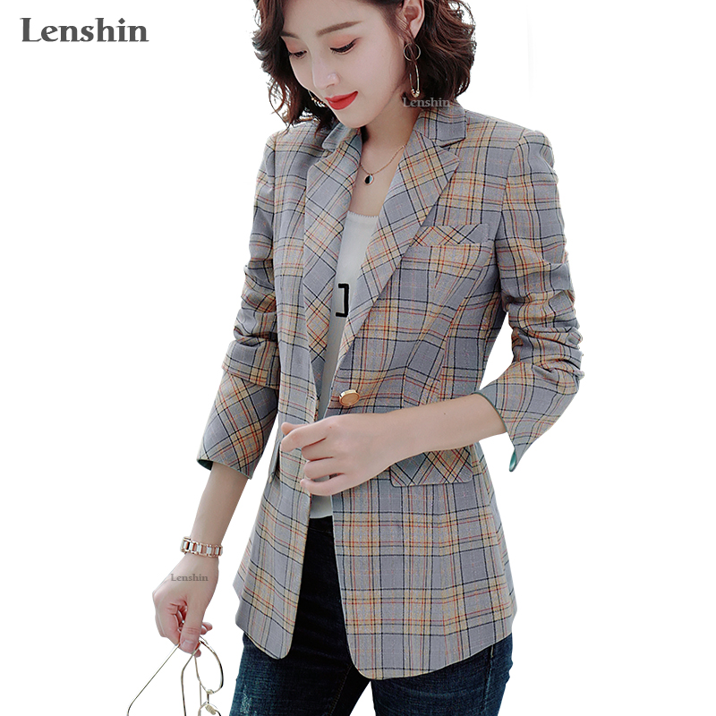 Lenshin Women Shiny Fabric Plaid Blazer Elegant Casual  Jacket Fashion Keep Slim Office Lady Outwear Contrast Sleeve Coat