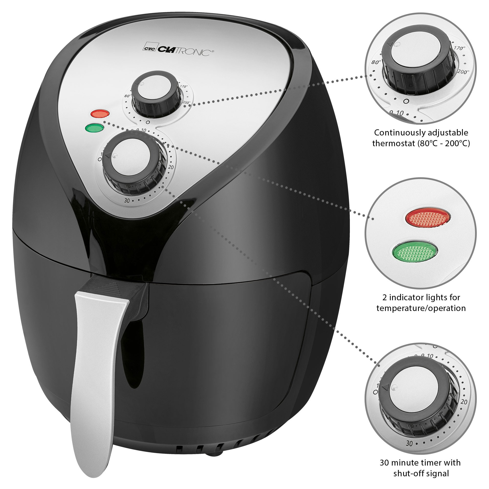 Clatronic FR 3699 H-Fryer Without Oil By Hot Air, Capacity 3,6 L, Thermostat And Timer, 1400 W