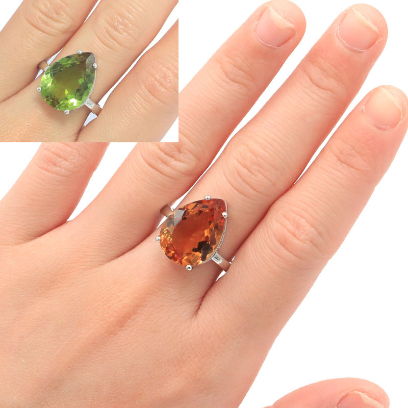 18x13mm Ravishing Water Drop Shape Created Color Changing Zultanite Gift For Woman's Jewelry Making Silver Rings