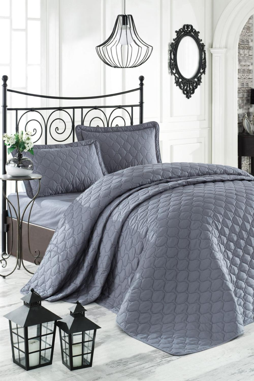 100% Turkish Cotton Bedspread Set, Bedspread And Pillow Case, Quilting, Luxury Anthracite Solid Color