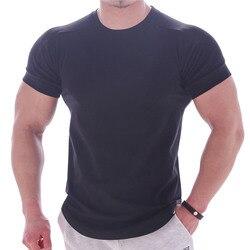 2019 신사복 티셔츠 체육관 피트니스 보디 빌딩 슬림 피트 티셔츠 오 넥 반소매 코튼 패션 탑스 캐주얼 티셔츠