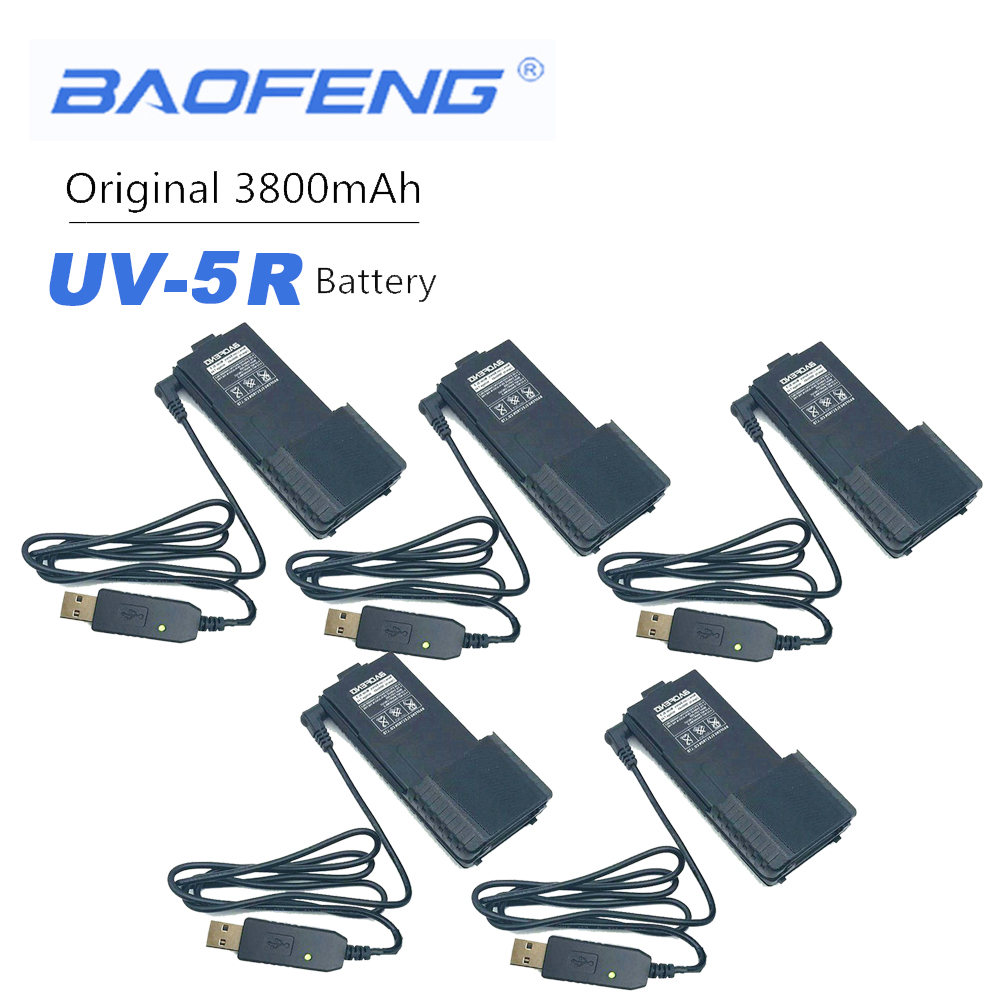 5PCS New Original Baofeng BL-5 With Details About USB Charger Cable IndicatorLight For BaoFeng UV-5R V6 Walkie Talkie UV5R Radio