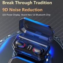 Tws fones de ouvido estéreo sem fio 5.0 bluetooth controle toque earloop cancelamento ruído esportes fone para o telefone inteligente