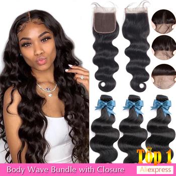 BEAUDIVA brazylijski włosy ciało fala 3 zestawy z zamknięciem wiązki ludzkich włosów z zamknięciem zamknięcie koronki Remy ludzki włos do przedłużania włosów tanie i dobre opinie = 10 Remy włosy CN (pochodzenie) body wave Brazilian Remy Body Wave Human Hair Bundles With 4*4 Lace Closure 95+ -5Grams Per Piece