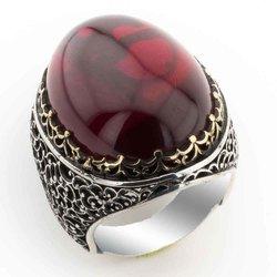 تصميم رائع كبير أحمر منحني الزركون خاتم فضة