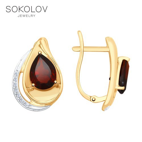 SOKOLOV Drop Earrings With Stones With Stones With Stones Of Gold With Garnets And Cubic Zirconia Fashion Jewelry 585 Women's Male