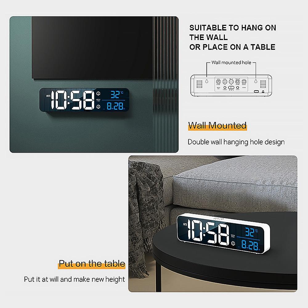 Music LED Digital Alarm Clock Temperature Date Display Desktop Mirror Clocks Home Table Decoration Electronic Clock 2000 mAh 6