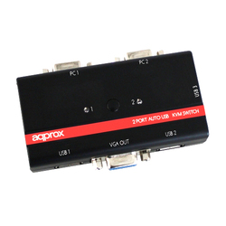 Hand switch Approx KVM USB/VGA 3 Ports USB Cable Included With Audio App KVM usb2pa2