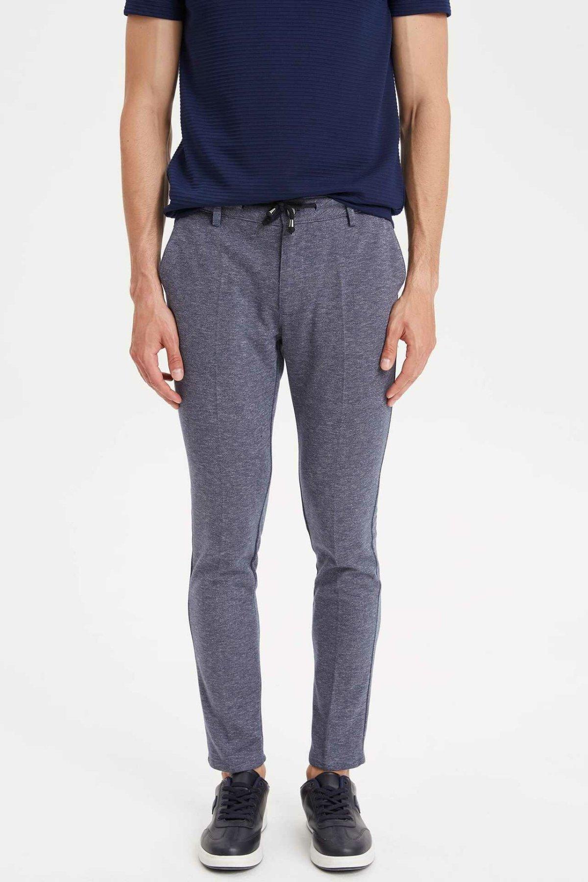 DeFacto Man Summer Solid Color Long Pants Men Casual Lace-up Bottoms Male Smart Casual Slim Fit Pants Trousers-L1544AZ19SM