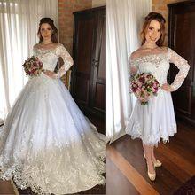 فساتين زفاف من Vestido De Noiva 2 Em 1 بأكمام طويلة 2020 شفاف باتو الرقبة زين ذيل قابل للانفصال العروس فساتين الزفاف