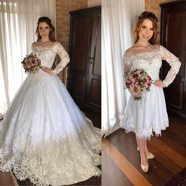Vestido De Noiva 2 Em 1 Lace Wedding Dresses Long Sleeve 2019 Sheer Bateau Neck Appliques Detachable Train Bride Wedding Gowns