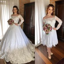 Vestido De Noiva 2 Em 1 Lace Wedding Dresses Long Sleeve 2020 Sheer Bateau Neck Appliques Detachable Train Bride Wedding Gowns
