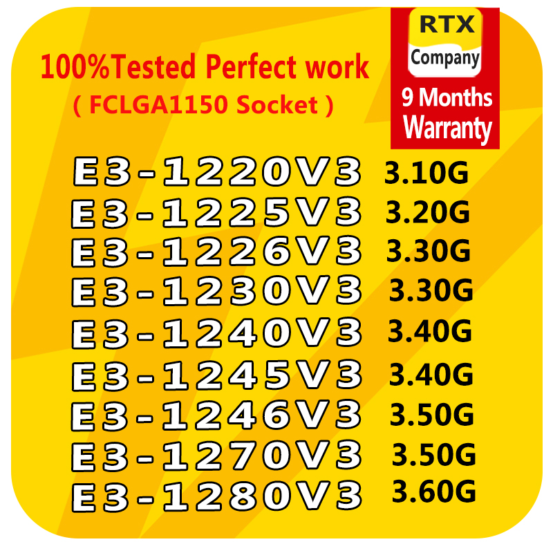 E3-1246v3 1231v3 1275v3 1220V3 1225V3 1230V3 1240V3 1271V3 1270V3 1280V3 1281v3 E3-1245V3 PC Computer CPU Xeon Server Processor
