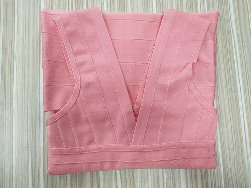 LEGER BABE новейшее Розовое женское летнее платье сексуальное с v-образным вырезом облегающее Бандажное платье на молнии сзади Вечерние платья знаменитостей