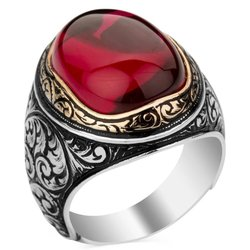 925 sterling Silber Rubin (Rubin) Zirkonia Männer Ring