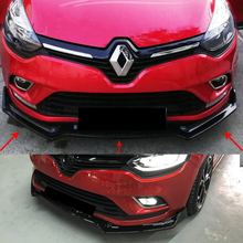Para Renault Clio 4 Renault Clio 2012, 2013, 2014, 2015, 2016, 2017, 2018 parachoques delantero archivo adjunto Negro piano 3 uds