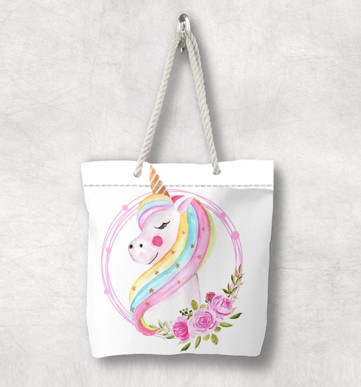 다른 화이트 핑크 유니콘 말 꽃 새로운 패션 화이트 로프 핸들 캔버스 가방 코튼 캔버스 지퍼가 달린 토트 백 숄더 백