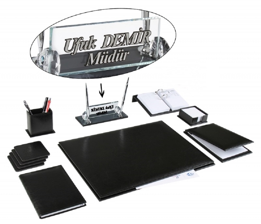 AKSU Office Business Leather Desk Set Desk Pad Set Name Plate Set And Crystal Table Nameplate