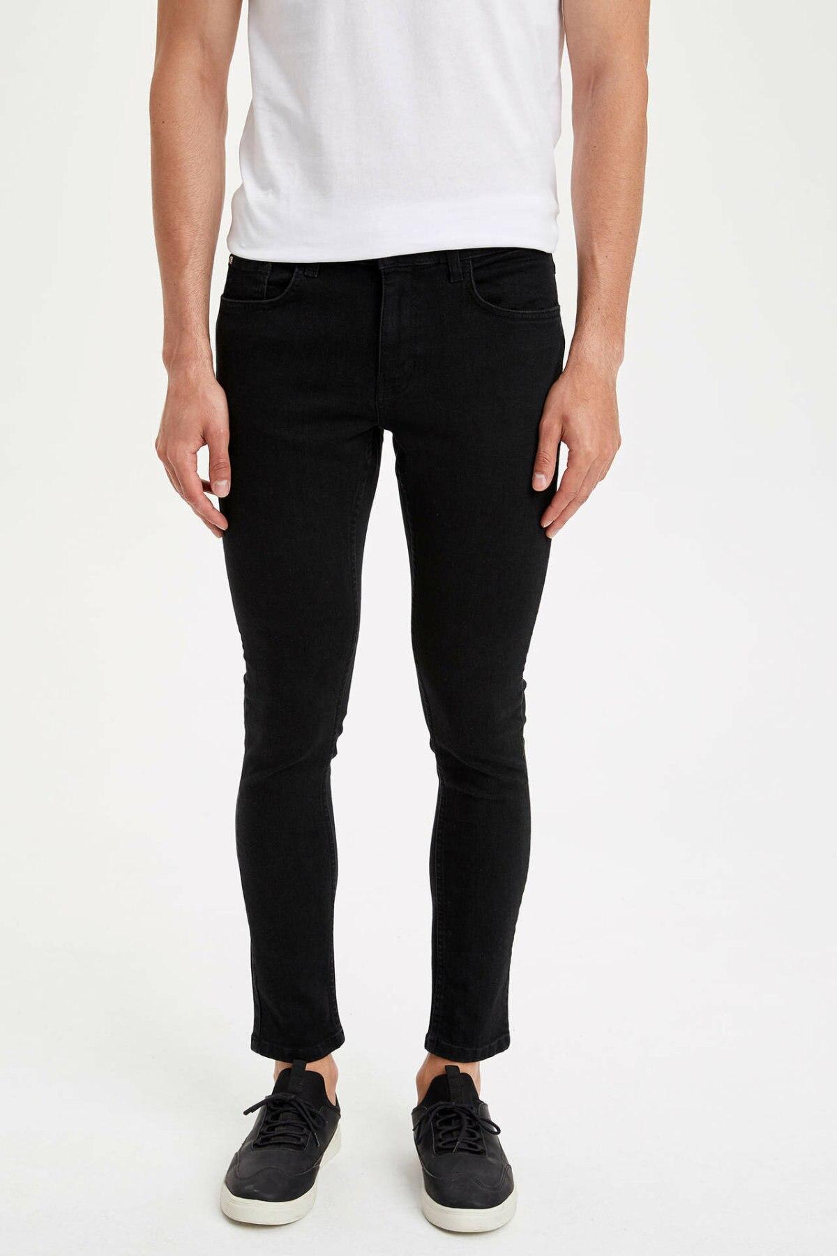 DeFacto Man Summer Skinny Black Denim Jeans Men Casual Fit Body Denim Pants Men Mid-waist Bottoms Trousers-L9183AZ19SM