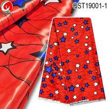 QST19001 Горячая-атласная шёлковая ткань Африка Звезда дизайн супер шелк материал 5 ярдов Красный цвет