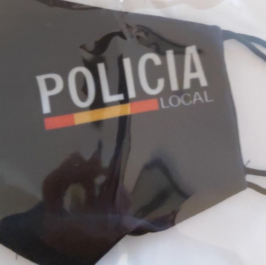 Mascarilla policía local con apertura de filtro, lavable y reutilizable de color negro con gomas. Fabricado en Italia