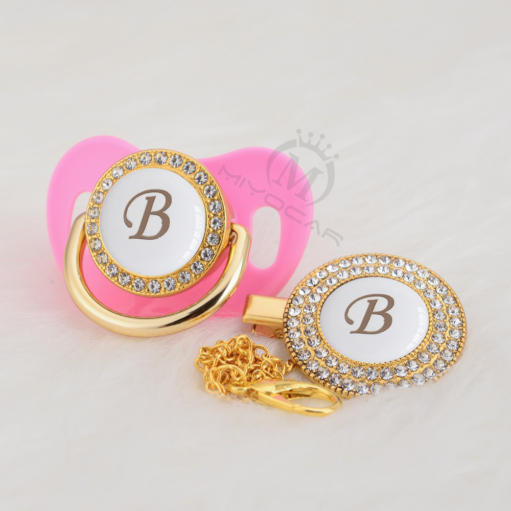 MIYOCAR Gold Elegant Name Initials Letter B Lovely Bling Pacifier And Pacifier Clip BPA Free Dummy Bling  LB-W