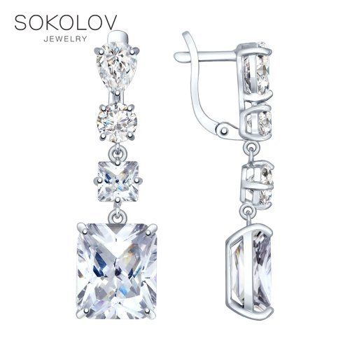 SOKOLOV Drop Earrings With Stones Long Silver With Cubic Zirconia Fashion Jewelry 925 Women's Male, Long Earrings