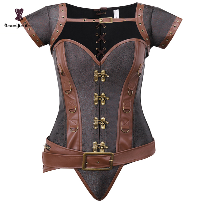 Brown <font><b>Women's</b></font> Clothing Steampunk Costume Corset Dress <font><b>Halloween</b></font> Costumes Steam Punk <font><b>Gothic</b></font> Corset Skirt Set image