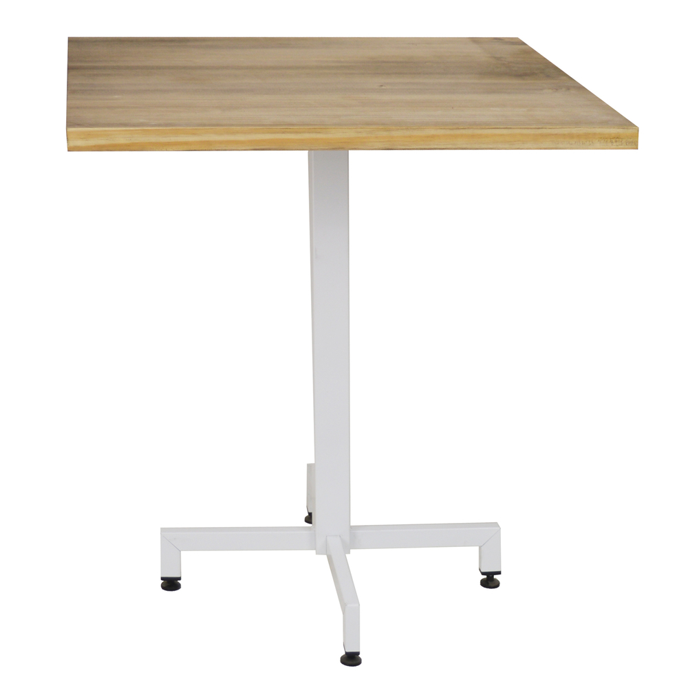 Pack Table ICub With Foot Central White Board Square-60X60X75 Cm-Vintage Effect-White