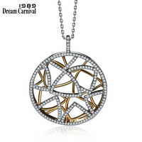 Dreamcarnival 1989 muti triângulos pingente redondo colar para mulher 2 tons cor do ouro collana zircônia jóias de casamento wp6432