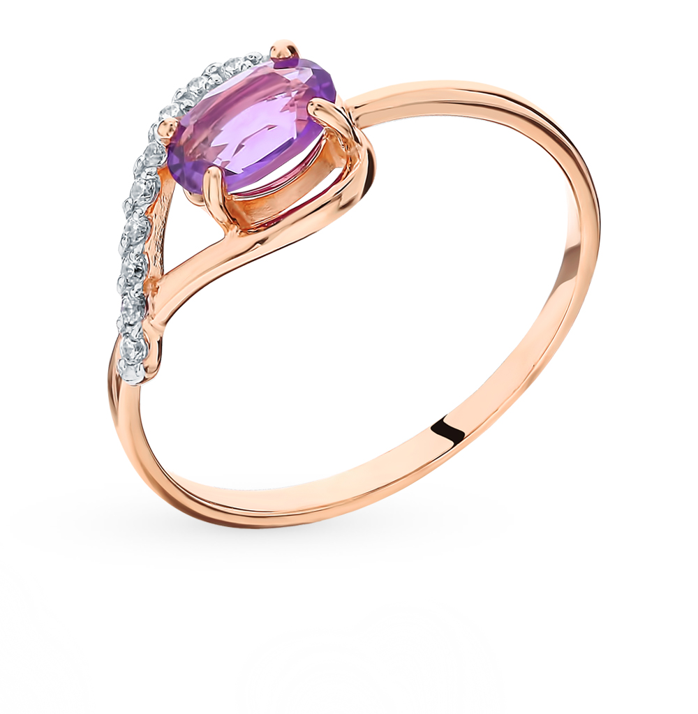 Gold Ring With Amethyst And Cubic Zirconia Sunlight Sample 585