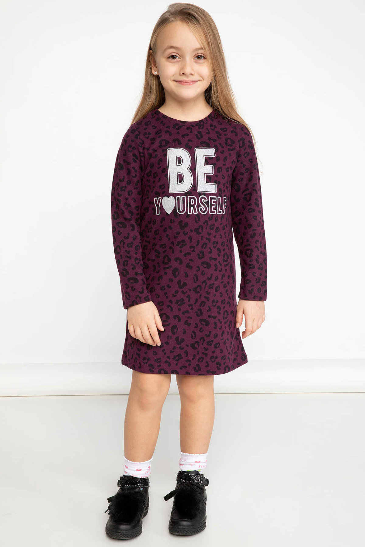 DeFacto Girl Winter Leopard Dresses Kids Long Sleeve Mid-length Straight Knitted Dress Purple Color Dress-K0796A618WN