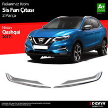 Free Shipping High Quality Easy Installation Abs Chrome 2 Pieces Front Bumper Decorative Attachments For Nissan Qashqai 2017-
