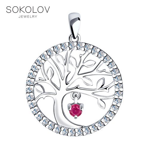 Pendant SOKOLOV From Silver With Cubic Zirkonia Fashion Jewelry 925 Women's/men's, Male/female