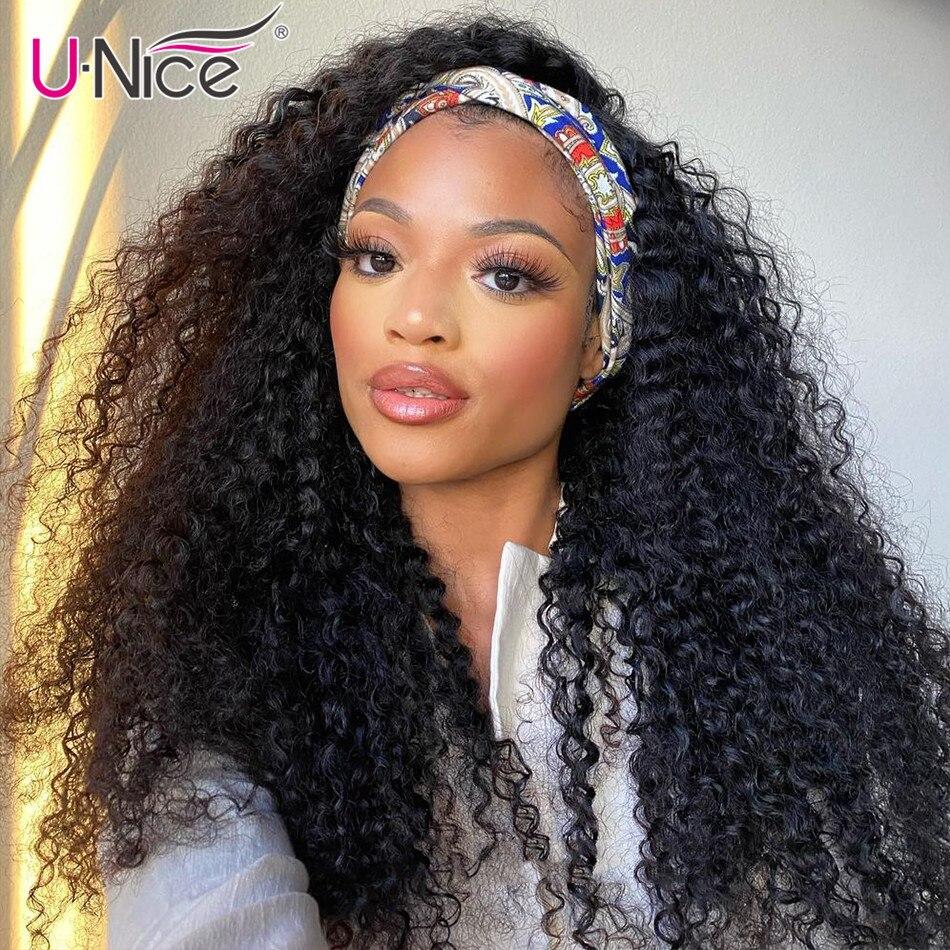 Unice-peluca con diadema de terciopelo para mujer, cabello rizado Mongol de 8-26 pulgadas, 100% de cabello humano Natural, peluca con diadema sin pegamento
