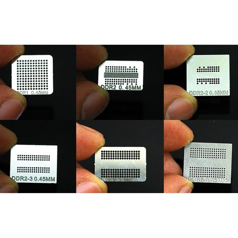 PACK 6 stencil for bga rework DDR, DDR2, DDR2-2, DDR2-3, DDR3, GDDR5 memory IC