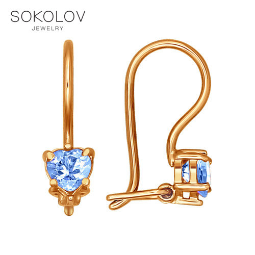 Baby Drop Earrings With Stones With Stones With Stones With Stones With Stones With Stones With Stones With Stones With Blue Cubic Zirconia SOKOLOV Fashion Jewelry Gold 585 Women's/men's, Male/female