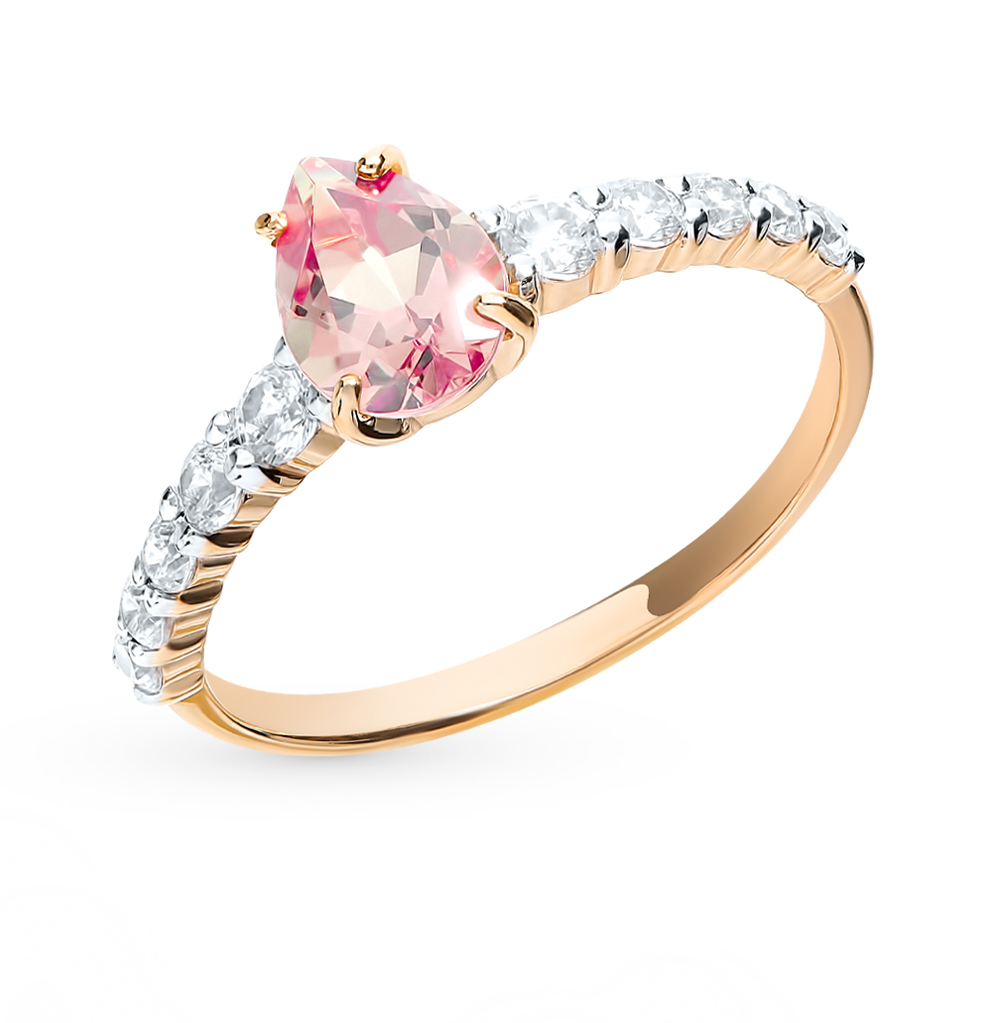 Gold Ring With Natital (Chameleon) And Cubic Zirconia Sunlight Sample 585