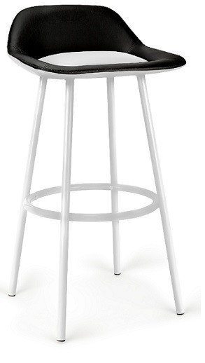 Stool FRENCH White Epoxy, Similpiel Black And White