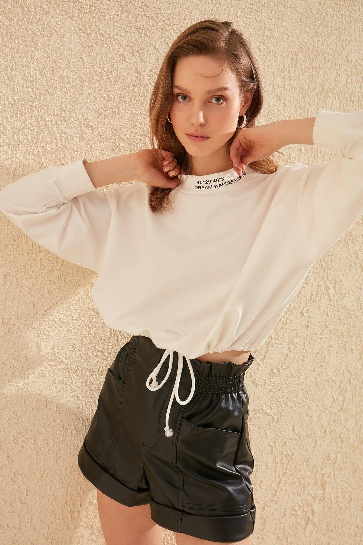 Trendyol Colar Stripe Crop Knitted Sweatshirt TWOSS20SW0123