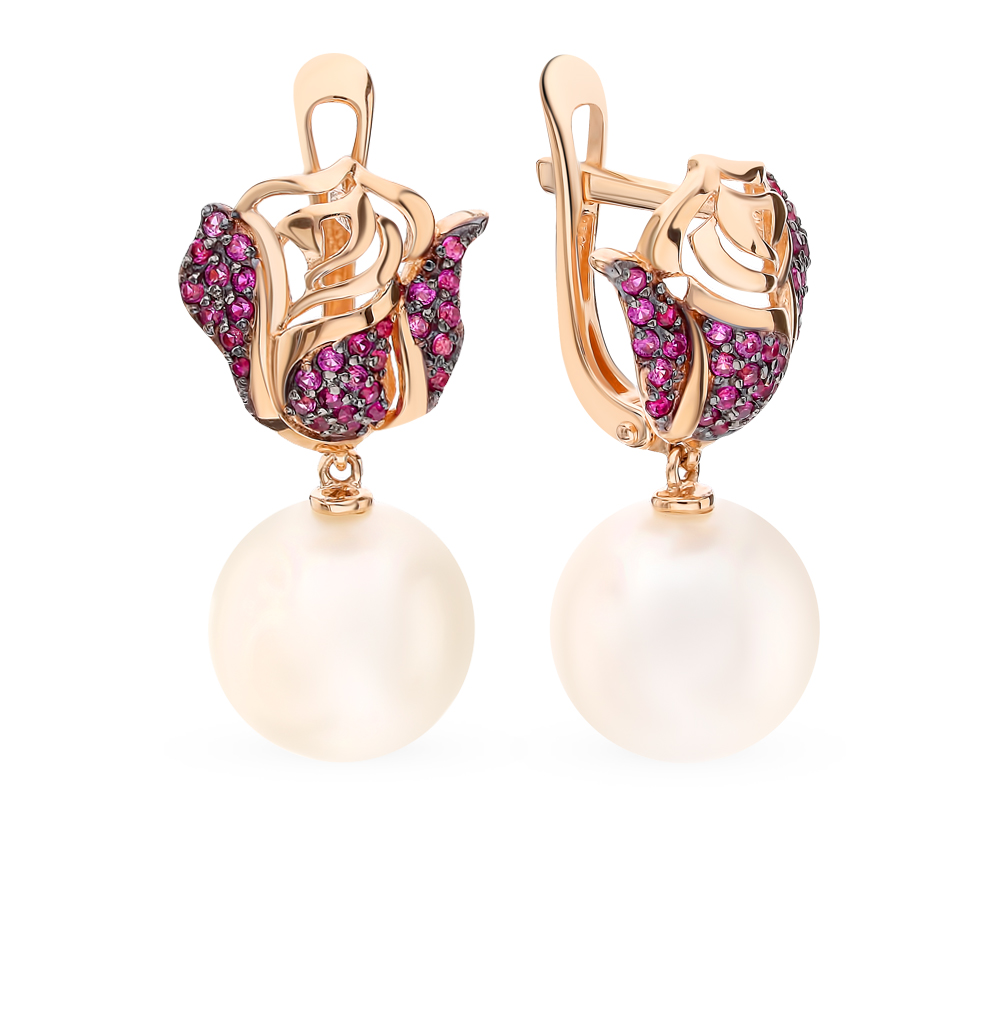 Gold earrings with corundum pearl SUNLIGHT test 585 antique gold color simulated pearl rhinestone earrings